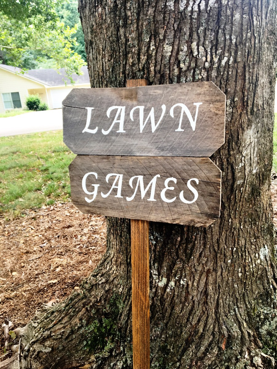 Lawn Games Sign Barnwood Rust Designs
